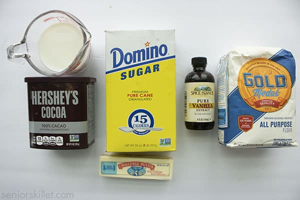 Ingredients for chocolate gravy