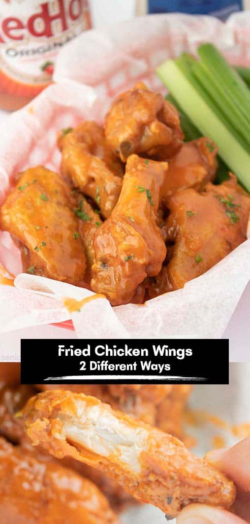 Buffalo wings long pin text banner Fried Chicken Wings 2 Different Ways