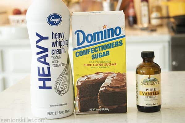 Ingredients for whipped cream