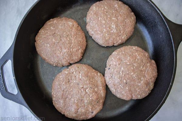 Steaks in a cast iron pan