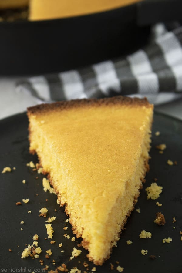 Piece of southern skillet cornbread