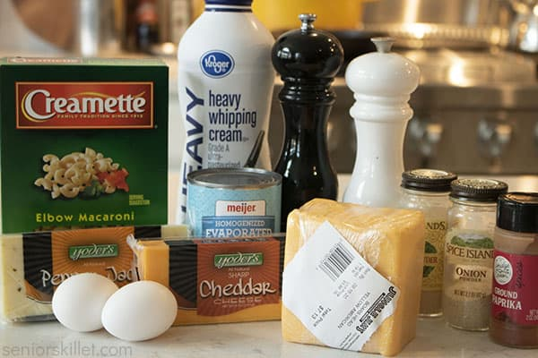 Ingredients for mac and cheese
