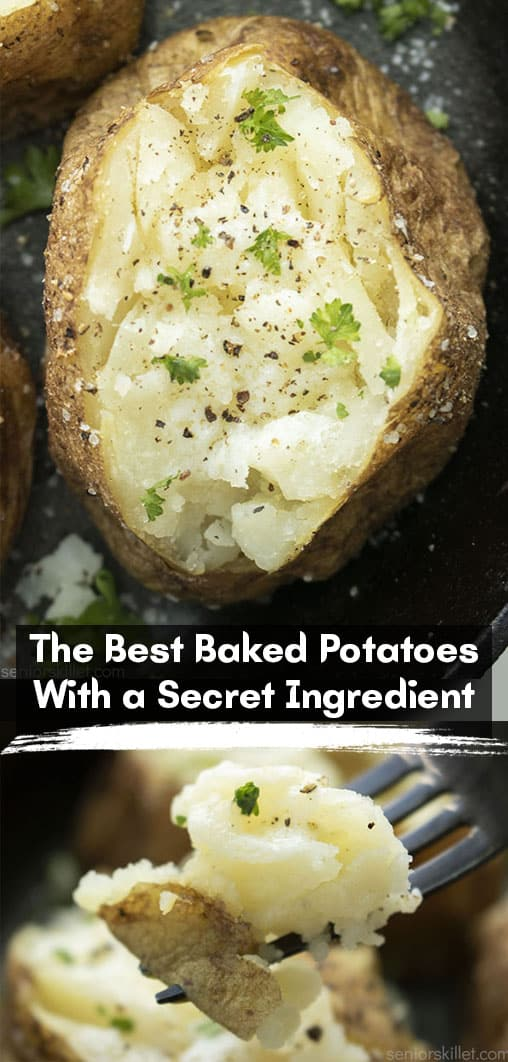 Long pin collage with text The Best Baked Potatoes with a Secret Ingredient