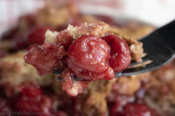 Cherry Cobbler on a fork