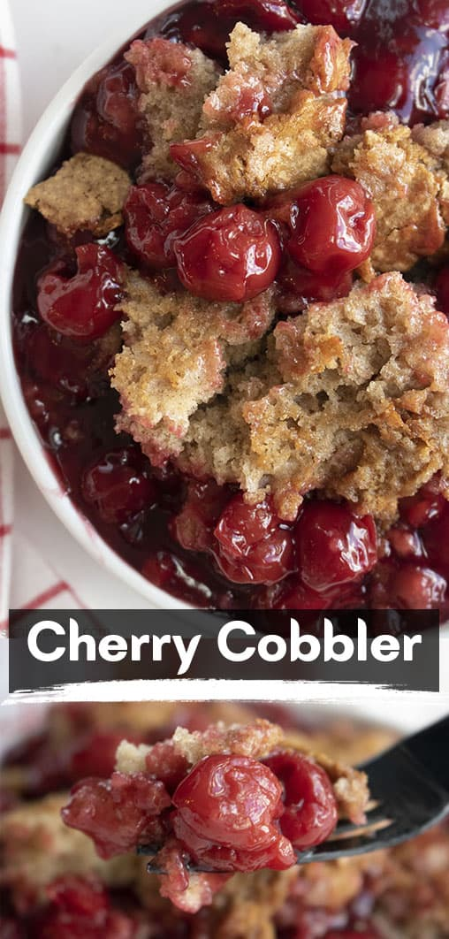 Long pin collage with text on image Cherry Cobbler