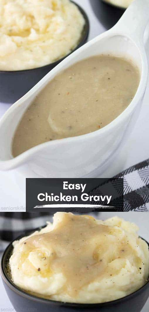 Long pin collage with banner text Easy Chicken Gravy