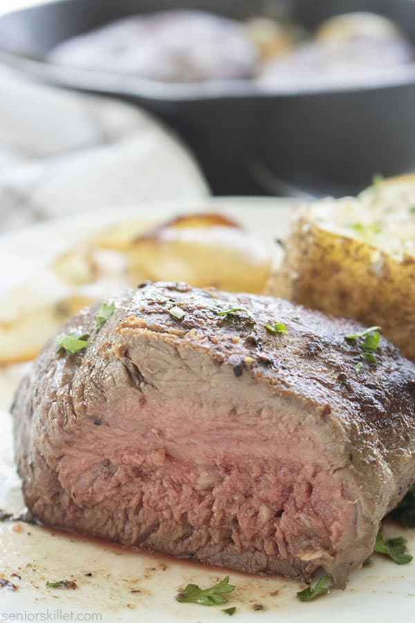 Cut beef filet on a plate