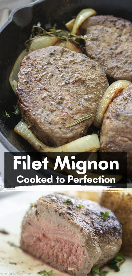 Long pin collage with text Filet Mignon Cooked to perfection