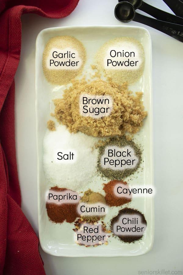 Pork Rub spices on a platter