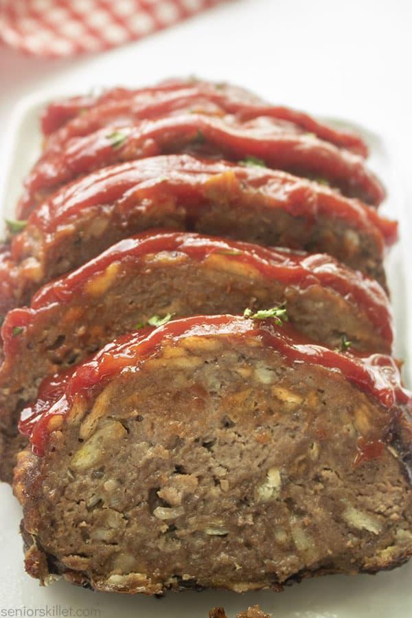 Slices of Ketchup glazed meatloaf