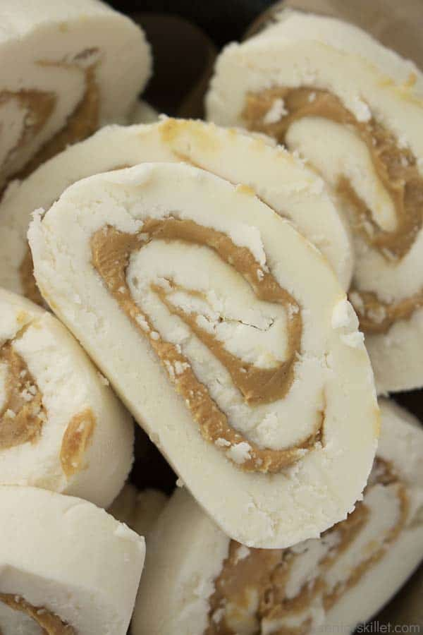 Peanut Butter Pinwheels in a pan