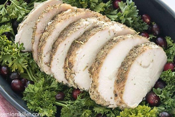 Slices of roasted turkey