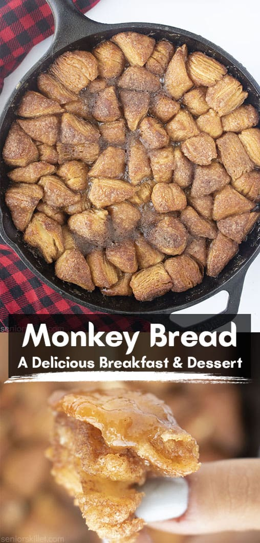 Long pin collage text on banner Monkey Bread A delicious Breakfast & Dessert.