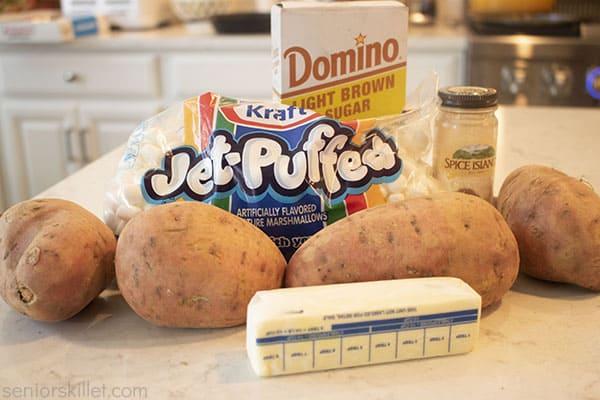 Ingredients for Sliced Sweet Potato Casserole
