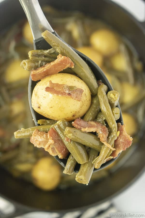 Southern Green Beans and Potatoes in a spoon