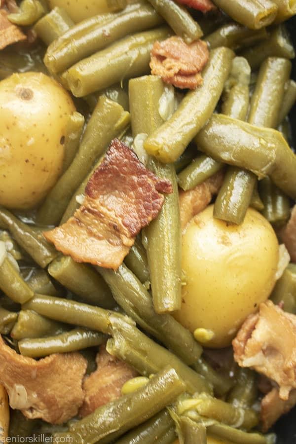 Southern Style Beans with potatoes closeup