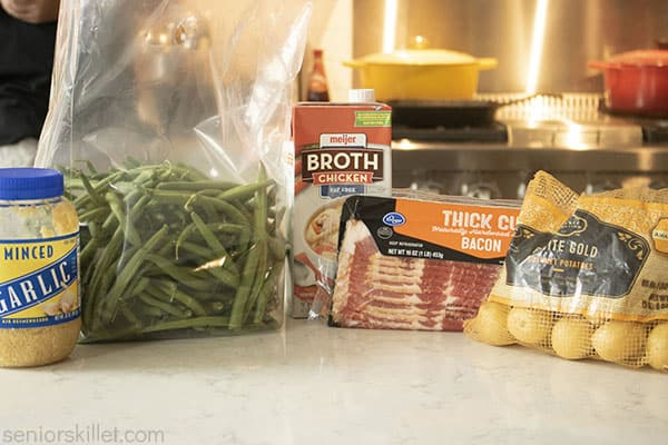 Ingredients for Southern Green Beans and Potatoes with bacon