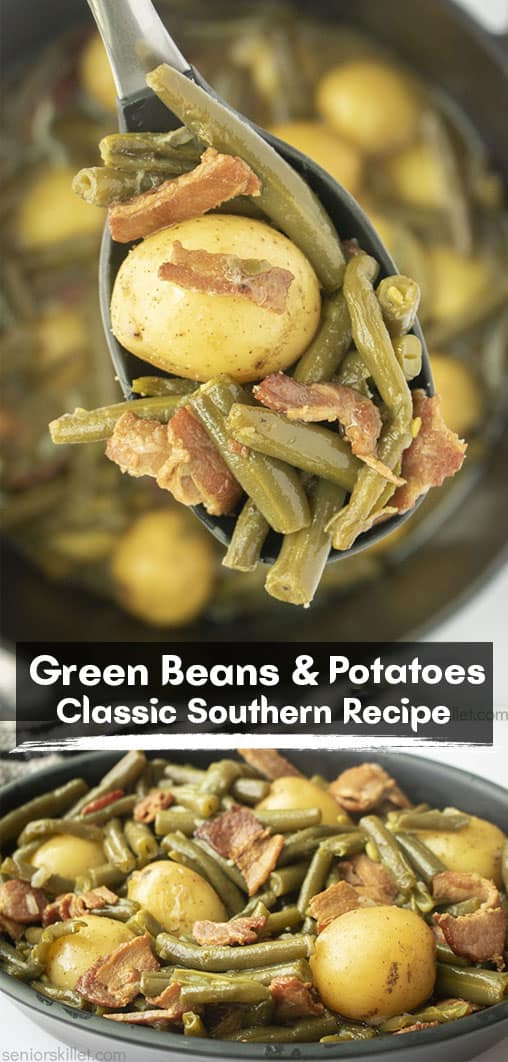Long pin collage with text Southern Green Beans and Potatoes Classic Southern Recipe