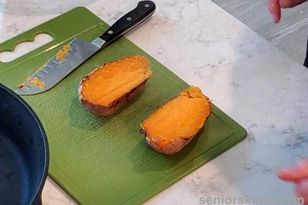 Baked sweet potatoes cut in half