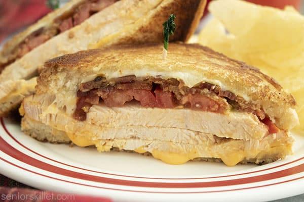 Toasted turkey sandwich on a plate