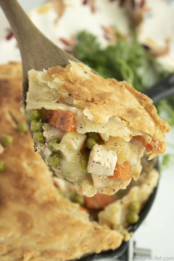 Leftover Turkey Pot pie on a spoon