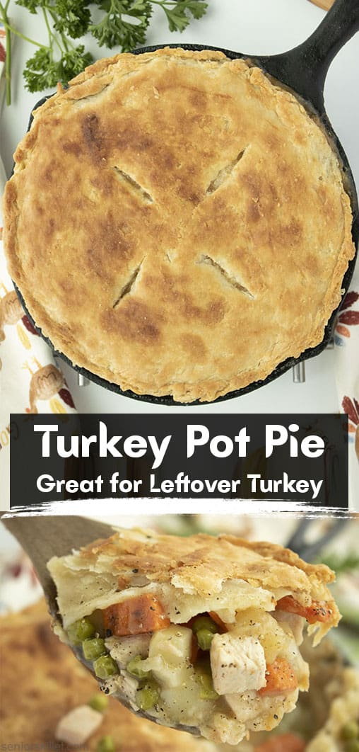 Long Pin collage text Turkey Pot Pie Great for Leftover Turkey