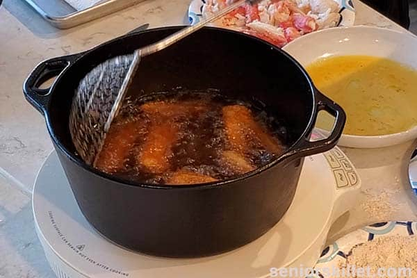 Frying the crab legs