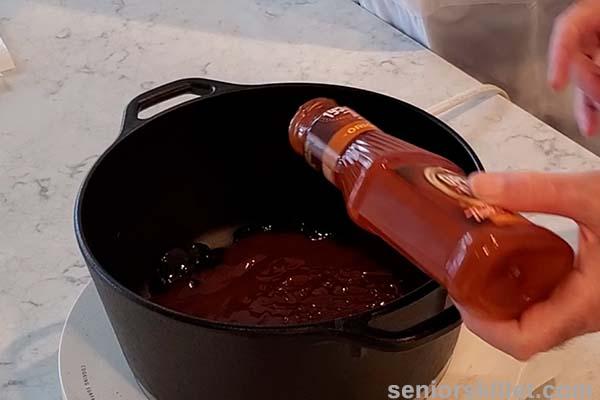 Adding bbq sauce