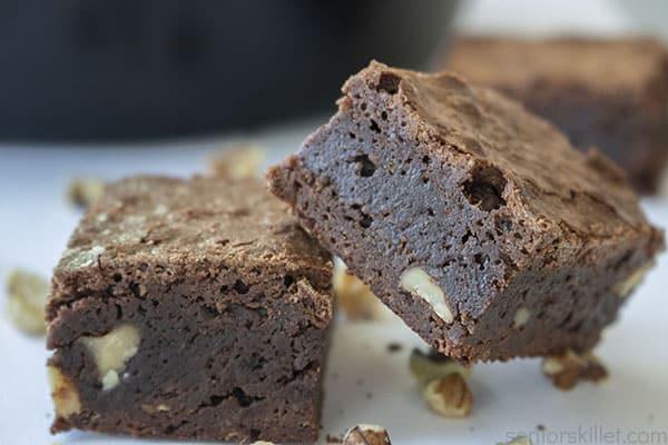 Stack of two skillet brownies