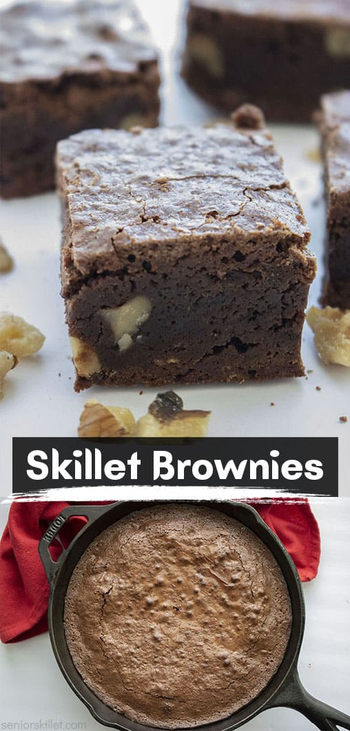 Long pin collage with text Skillet Brownies