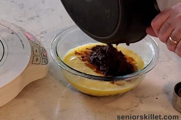 Mixture added to bowl